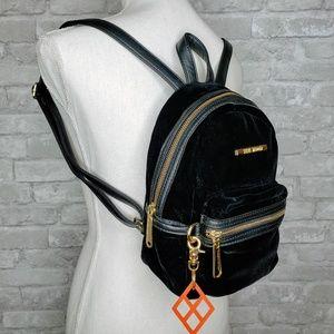 Steve Madden Black Velvet Gold Trim Back Pack Bag